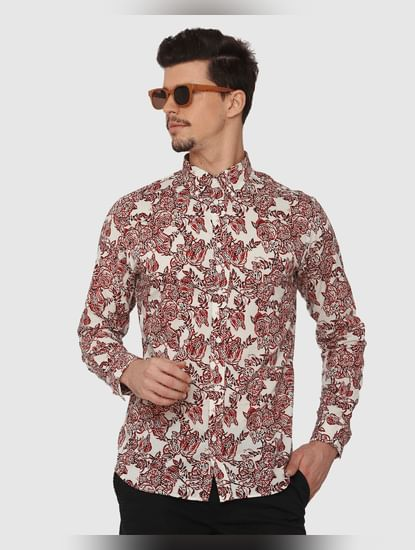 White All Over Floral Print Full Sleeves Shirt