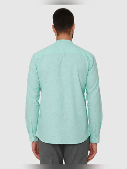 Green Faded Regular Fit Full Sleeves Shirt