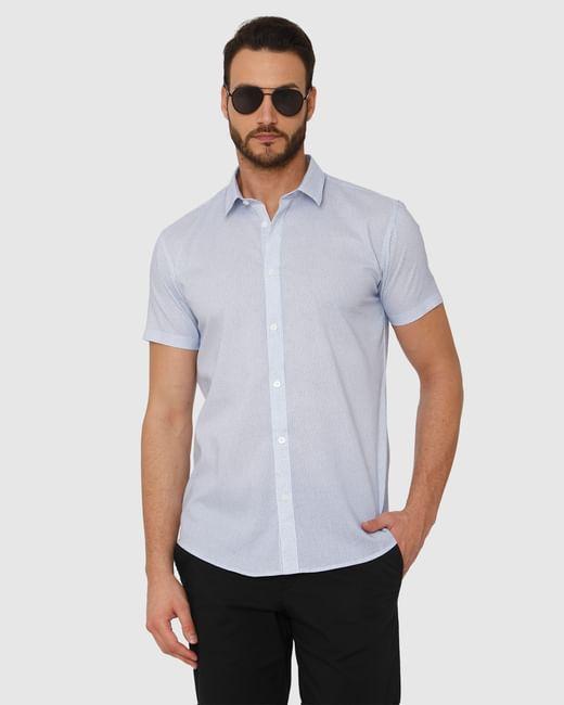 Light Blue Micro Ditsy Print Slim Fit Short Sleeves Shirt