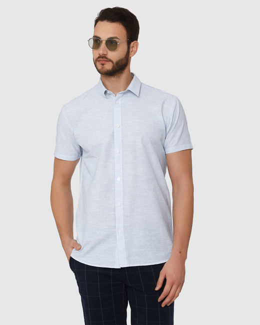 Light Blue Micro Ditsy Print Slim Fit Short Sleeves Shirt