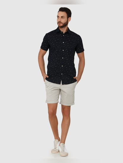 Navy Blue All Over Printed Regular Fit Short Sleeves Shirt