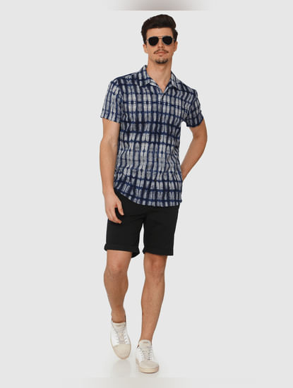 Blue All Over Print Regular Fit Short Sleeves Shirt