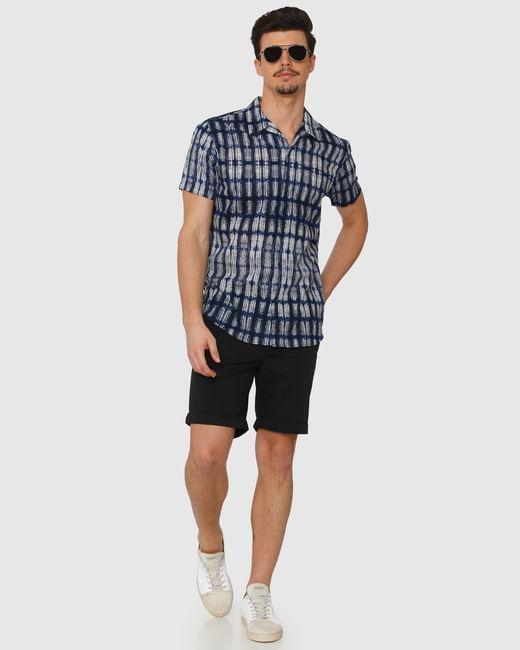Blue All Over Print Regular Fit Short Sleeves Shirt
