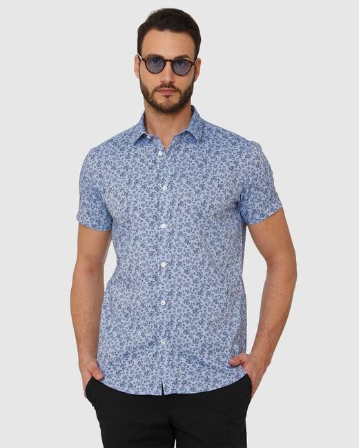 Blue All Over Floral Print Slim Fit Short Sleeves Shirt