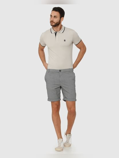Grey Fine Striped Chino Shorts