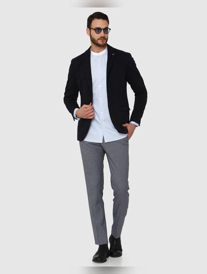 Light Blue Contrast Collar Detail Slim Fit Full Sleeves Shirt