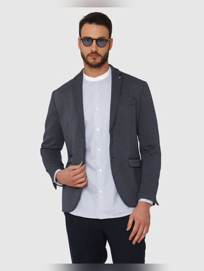Light Blue Striped Contrast Collar Detail Slim Fit Full Sleeves Formal Shirt
