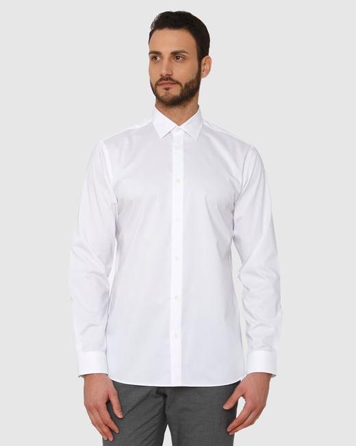 White Regular Fit Full Sleeves Formal Shirt