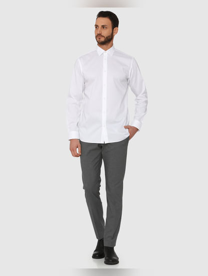 White Regular Fit Full Sleeves Formal Shirt