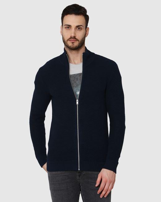 Navy Blue Zipped Cardigan