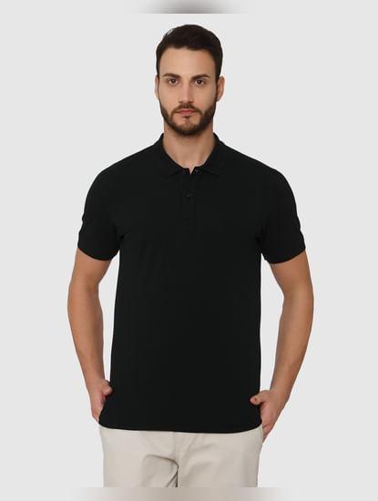 Black Slim Fit Polo Neck T-Shirt