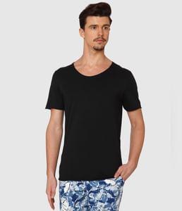 Black Raw Edge Crew Neck T-Shirt
