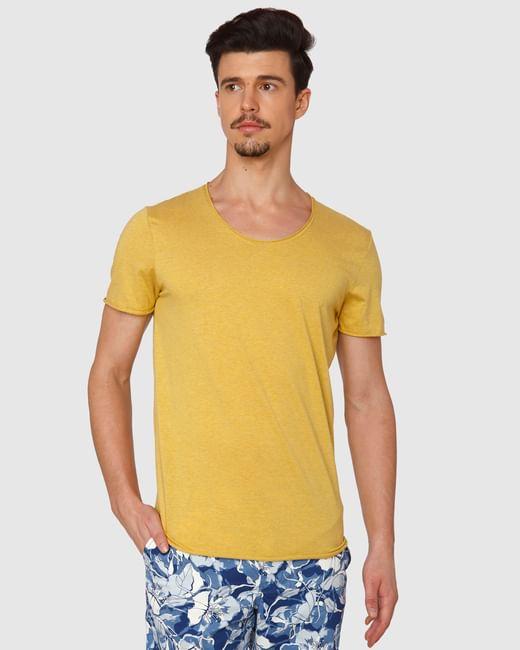 Yellow Raw Edge Crew Neck T-Shirt