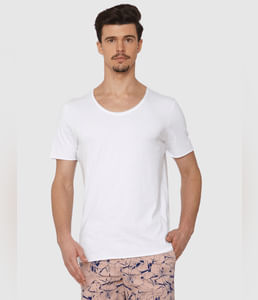 White Raw Edge Crew Neck T-Shirt