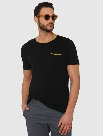 Black Contrast Tipping Crew Neck T-Shirt
