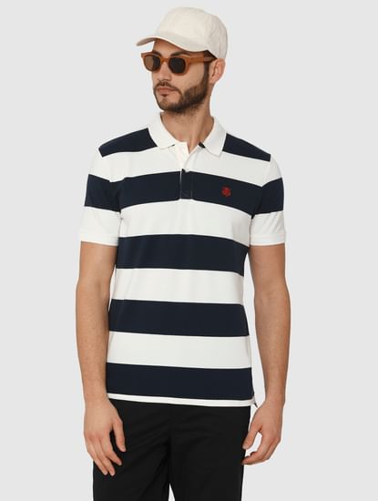 White Striped Polo Neck T-Shirt