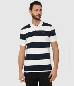 White Striped Polo Neck T-Shirt