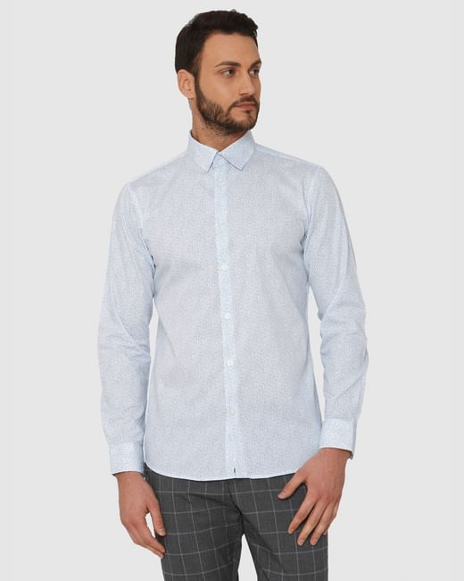 White All Over Print Slim Fit Full Sleeves Shirt