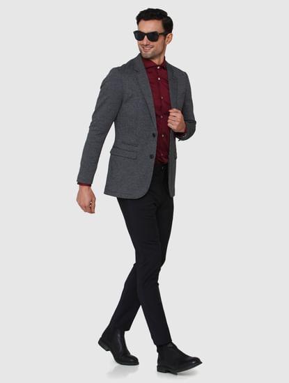Black Textured Formal Blazer