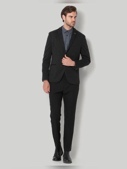 Dark Grey Check Formal Blazer