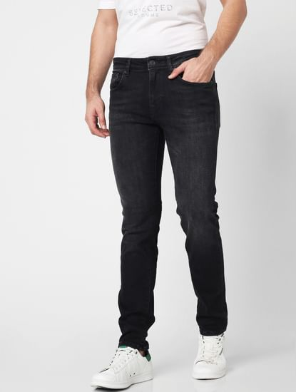 Black Mid Rise Washed Slim Fit Jeans