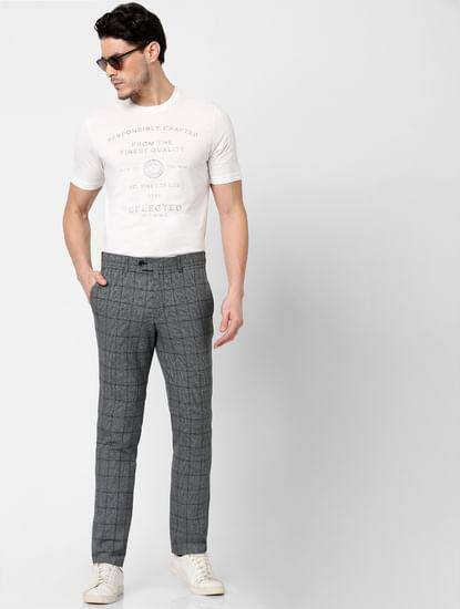 Grey Mid Rise Check Print Pants