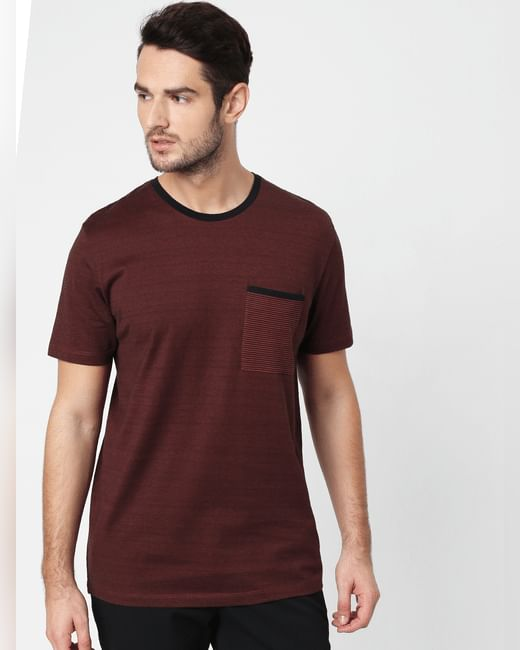 Brown Printed Pocket Crew Neck T-shirt