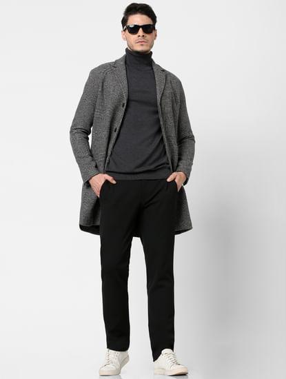 Grey Check Print Coat