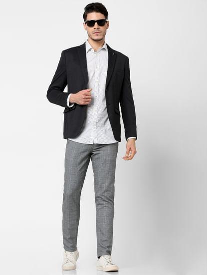 Dark Grey Double Button Blazer