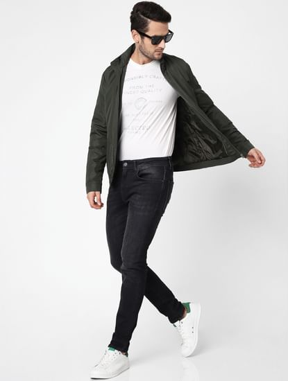 Green High Neck Casual Jacket