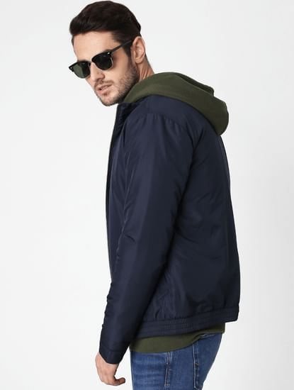 Navy Blue High Neck Casual Jacket