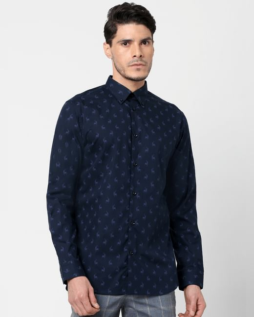 Navy Blue All Over Print Full Sleeves Shirt