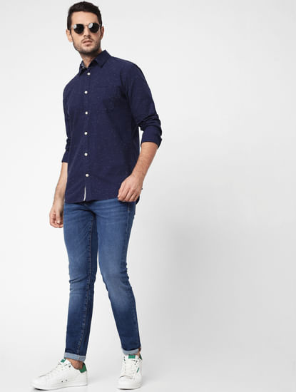 Navy Blue Self-Design Full Sleeves Shirt