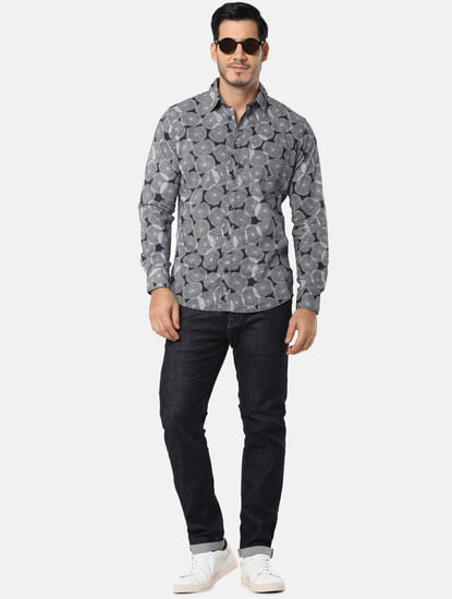 Navy Blue All Over Print Full Sleeves Shirt