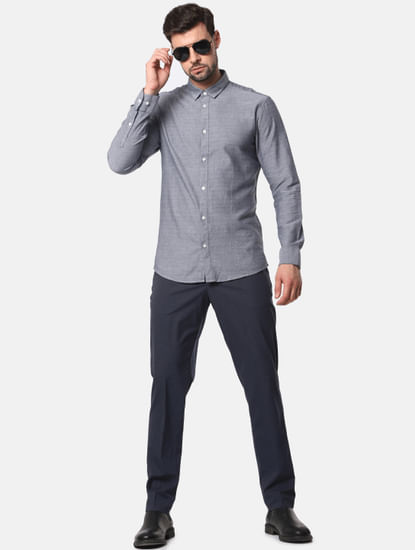 Grey Formal Full Sleeves Shirt