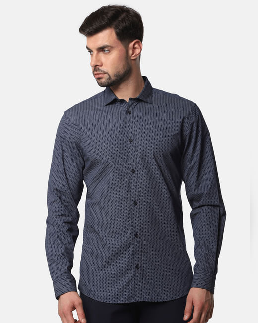 Navy Blue Printed Full Sleeves Shirt