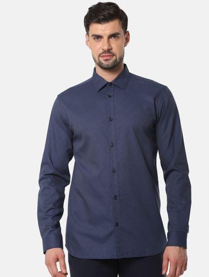 Navy Blue Printed Full Sleeves Shirt