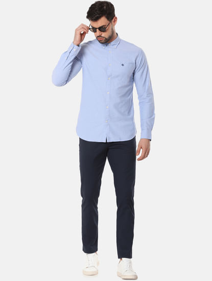 Navy Blue Mid Rise Slim Fit Chinos