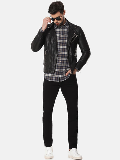 Black Mid Rise Leon Slim Fit Jeans