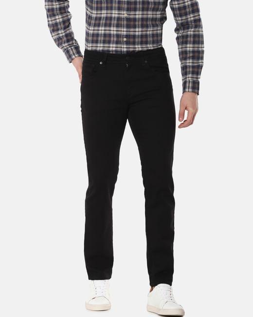 Black Mid Rise Leon Slim Fit Jeans