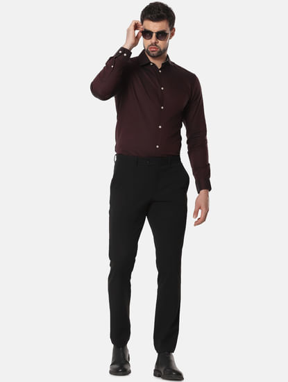 Burgundy Formal Full Sleeves Shirt