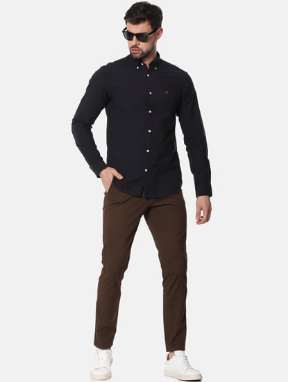 Dark Brown Mid Rise Slim Fit Chinos