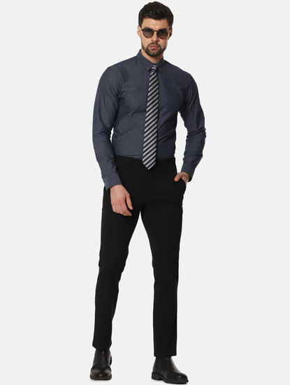 Navy Blue Slim Fit Full Sleeves Shirt