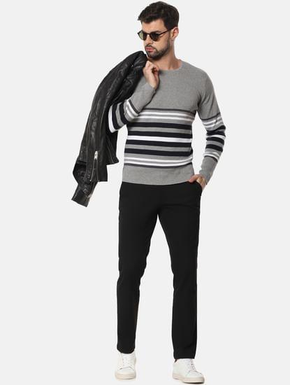 Grey Striped Pullover