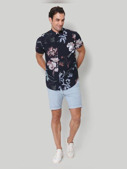 Dark Blue Printed Short Sleeves Shirt
