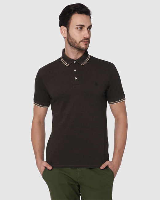 Dark Brown Contrast Tipping Slim Fit Polo Neck T-Shirt