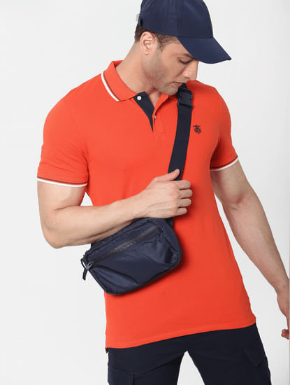 Orange Contrast Tipping Polo Neck T-shirt