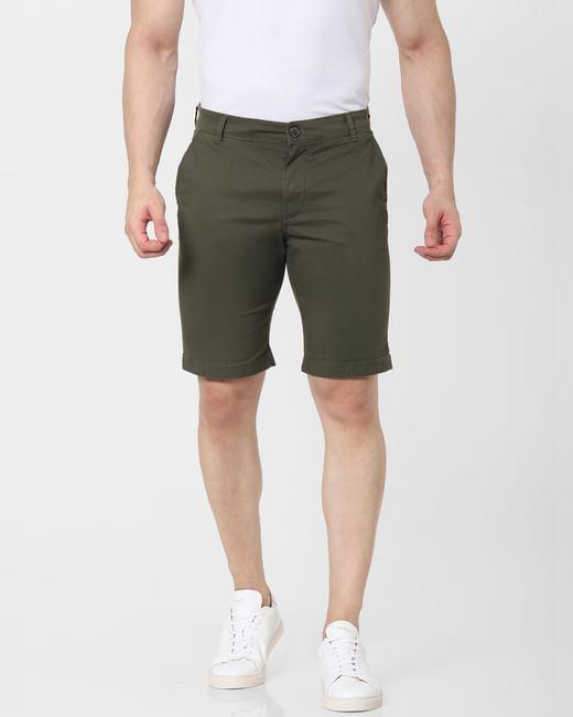 Green Mid Rise Chino Shorts