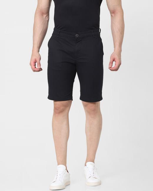 Black Mid Rise Chino Shorts