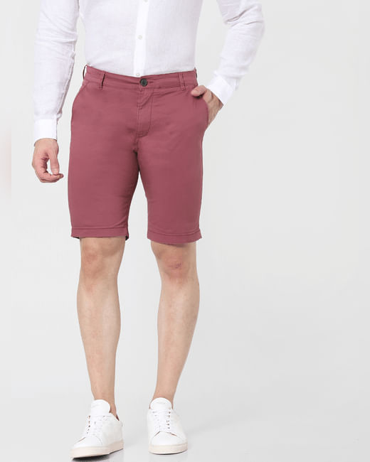 Pink Mid Rise Chino Shorts